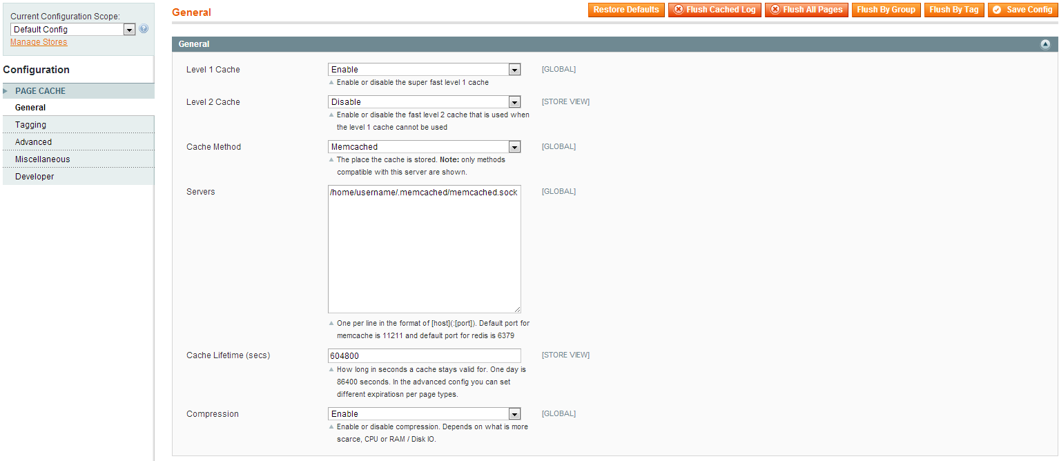 Configure Extendware Full Page Cache for Magento